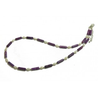 Purple Sugilite and Pearl Beaded Necklace