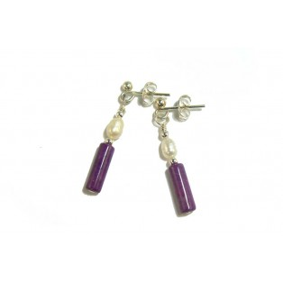 Rich Purple Sugilite and Peal Drop Earrings
