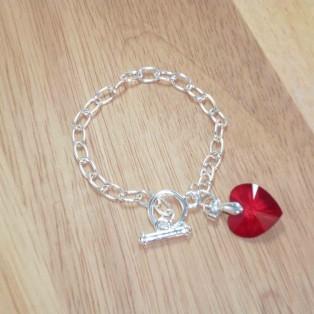 Red Swarovski Crystal Heart Charm Bracelet