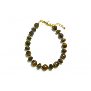 Tiger's Eye Bracelet -  Rondelle And Round Beads