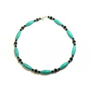 Turquoise Necklace Infused With Onyx