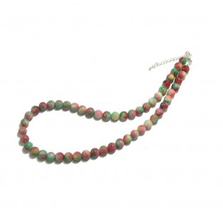 Red Pink and Green Beaded Watermelon Jade Necklace