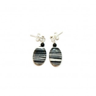 Black and White Calsilica Drop Earrings